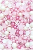 a mix of pinl pearls and pale pink shimmer pearls