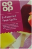 CO OP Fruit Split Lollies 6 Pack Assorted Flavours